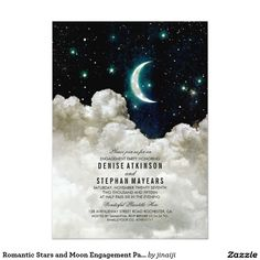 Romantic Stars and Moon Engagement Party Card