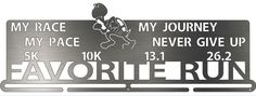 NEW! Favorite Run My Race My Pace Medal Display - Beautifully Custom Designed! Laser cut from heavy gauge brushed stainless steel. http://favoriterunshop.com/shop/favorite-run-my-race-my-pace-medal-display/