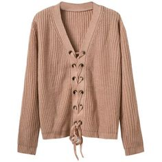 Khaki Plunge V-neck Lace Up Front Long Sleeve Knit Jumper