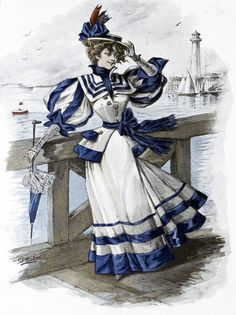 """This year the theme for my annual Victorian Party was """"Seaside"""". I told people to be inspired by movies set on boats or beaches, Victorian . 1890s Fashion, Edwardian Fashion, Vintage Fashion, Retro Mode, Mode Vintage, Historical Costume, Historical Clothing, 19th Century Fashion, Edwardian Dress"""
