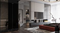Apartment in Kiev on Behance Living Area, Living Room, Interior Architecture, Interior Design, Bed Back, Park Avenue, Apartment Design, Behance, House