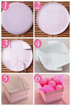 paper plate box for homemade goodies over the holidays. paper plate box for homemade goodies over the holidays. Food gifts from the kitchen (or bake sales) idea for box container packaging made from a paper plate. How to diy cookie basket out of paper pla Paper Plate Box, Paper Plates, Paper Boxes, Diy And Crafts, Crafts For Kids, Arts And Crafts, Crafts To Make And Sell Ideas, Homemade Gifts, Diy Gifts