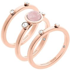 Michael Kors Easy Opulence Rose Quartz Stack Ring Set ($95) ❤ liked on Polyvore featuring jewelry, rings, rose gold, rose gold tone rings, michael kors, rose quartz ring, michael kors ring and stackable rings