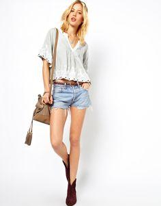 ASOS Petite | ASOS PETITE Exclusive Crop Top with Lace Trim at ASOS  cute outfit