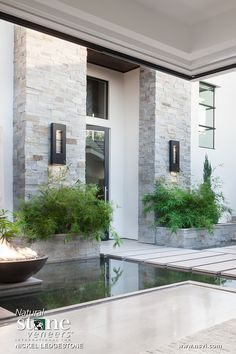 One of these gallery images will also be found in our Outdoor Living category. Stucco And Stone Exterior, Stone Facade, Modern Exterior, Exterior Design, Modern Entrance Door, Entrance Design, House Entrance, Stone Front House, House Front