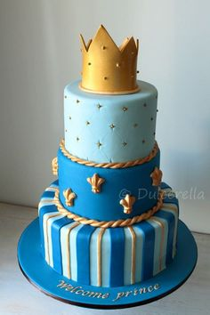No dark blue tho, only light blue and gold? https://flic.kr/p/JwFPy3 | Blue and gold baby shower cake