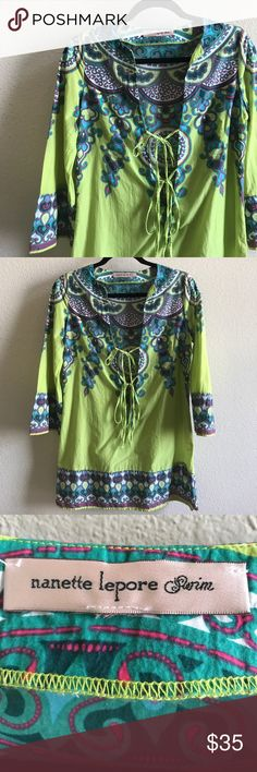Nanette Lepore 100% Cotton Swim Cover EUC, double tie front, very thin and no notable damage or wear. 20% off any 2! Nannette Swim Coverups