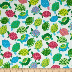 Turtles White from @fabricdotcom  From Timeless Treasures, this cotton print is perfect for quilting, apparel and home decor accents.  Colors include white, yellow, pink, blue and green.
