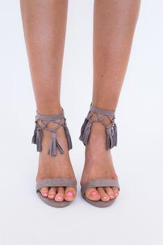 Taupe Tassel Heel - Dottie Couture Boutique