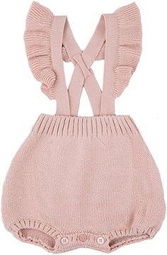 e5e226a5a99 Amazon.com  Chulianyouhuo Baby Girls Knitted Lace Romper Cross Bandage  Ruffles Jumpsuit Bodysuit