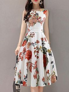 Round Neck Floral Printed Skater Dress , Buy Affordable And Fashionable Women's clothing Online. Buy Shoes, Bags, Dresses Etc. Women's Fashion Dresses, Casual Dresses, Floral Dresses, Fashion Clothes, Printed Dresses, Woman Dresses, Dresses Dresses, Floral Maxi, Fashion Goth