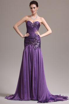 osell wholesale dropship Chiffon Applique Beading Sweetheart Sleeveless Court Train Mermaid Evening Prom Dress $84.13