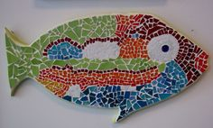 Stained Glass MOSAIC fish colorful by luannekane on Etsy, $120.00