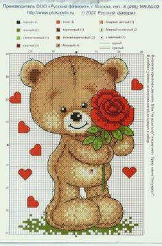 """Bom dia meninas e meninos!     Hoje trouxe para vocês os """"Ursinhos do Amor em Ponto Cruz"""". São oito gráficos lindíssimos e super românticos..."""