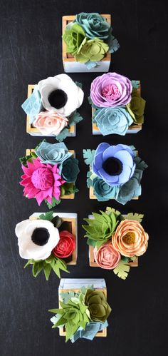 Felt flower arrangements #decor