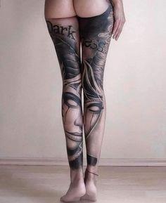 Wicked Tattoos, Badass Tattoos, Hot Tattoos, Sleeve Tattoos, Full Leg Tattoos, Leg Tattoos Women, Tattoo Bein Frau, Stocking Tattoo, Tattoo Ink Sets
