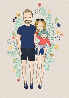 Portrait personnalisé portrait de famille sticker