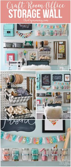 A beautiful colorful craft room office wall with pegboard for storage baskets garlands art and hanging mason jar storage. Treatment Projects Care Design home decor Craft Room Storage, Craft Organization, Diy Storage, Storage Baskets, Craft Rooms, Storage Ideas, Pegboard Craft Room, Kitchen Pegboard, Cleaning Tips