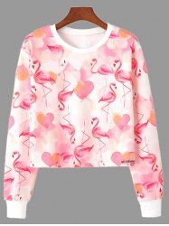 9109f7ec63f817 Flamingo Print Crew Neck Cropped Sweatshirt - PINK L Cute Sweatshirts,  Sweatshirts Online, Pink