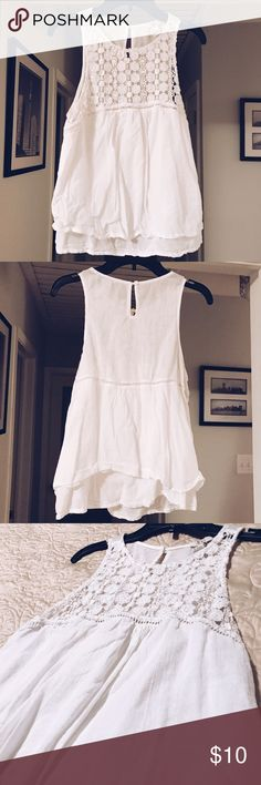 White Forever21 Top White forever 21 top with crocheted upper third and ruffled bottom! Forever 21 Tops Tank Tops