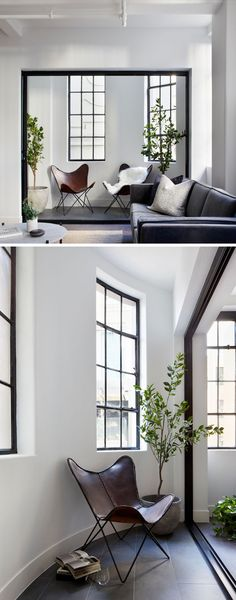 This modern living room has a small a small curved alcove with tile flooring that enjoys natural light through the tall black-framed windows. Scandi Living Room, Ikea Living Room, Small Living Rooms, Contemporary Living Room Furniture, Modern Living, Dream Furniture, Ikea Hacks, Home Design Decor, Interior Design