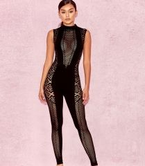 New arrival fashion sexy bodycon black bandage with mesh jumpsuit for women  casual outfit wholesales china 1e0525152