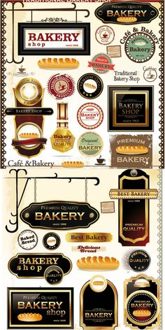 Bakery labels, emblems and stickers vector