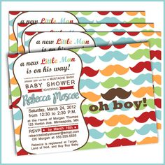 Maybe these colors??   Little Man Baby Shower Invitations: Product No. 234 - Mustache Bash baby shower Baby Boy - 12 Printed Invitations. $18.00, via Etsy.