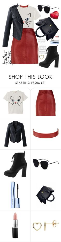 """Cat Leather Outfit"" by cordelia-fortuna ❤ liked on Polyvore featuring Paul & Joe, Sandro, Chicwish, CÉLINE, Lindt, Estée Lauder, MAC Cosmetics, Estella Bartlett and leatherjackets"