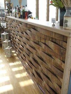 1m² Wandverblendung aus original Eichenholz Fassdauben aus gebrauchten Weinfass