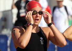 Team GB's Keri-Anne Payne prepares to the start the women's marathon swim.