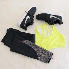 Black Leggings + Yellow Sports Bra Outfit