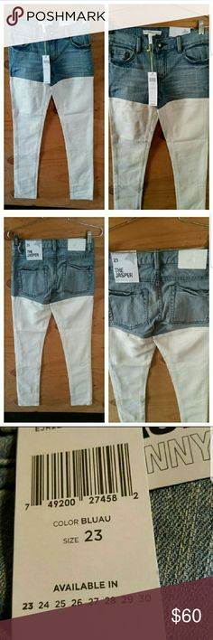 💛New BCBGENERATION the Jasper Skinny Jeans Bcbgeneration The jasper skinny jeans   Upper Jean and lower is faux white leather  Super cute chic jeans  New With Tags retail $118  Size 23  I do bundle and offers are welcome BCBGeneration Jeans Skinny