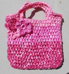 A crocheted tote from plastic bags for my great granddaughter.