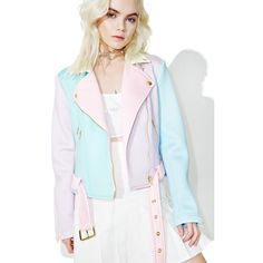 Sugarpills Neoprene Moto Jacket ($108) ❤ liked on Polyvore featuring outerwear, jackets, motorcycle jacket, zip front jacket, pastel jacket, moto jacket and colorblock jackets