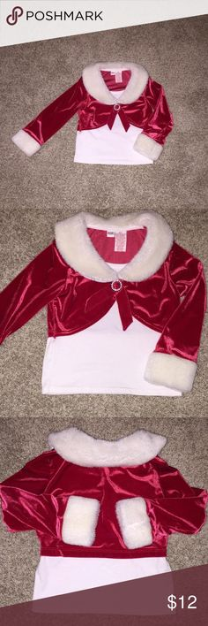 Cute holiday top size 4T with Faux Fur on collar & cuffs. This adorable top is perfect for the holidays with faux fur cuffs & collar. Red part is soft like velour with rhinestone detail. Size 4T. Great condition Dresses