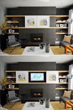 Megapost: Estante para TV, Home Theater. enfim: Mostrar ou esconder a TV? Ideas Cabaña, Hidden Tv, Diy Casa, Repurposed Furniture, Rustic Furniture, Antique Furniture, Modern Furniture, Home Living Room, Home Projects