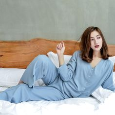 Spring Cardigan Pajamas Set Women Solid Long Sleeve Short Tops Long Pants Comfortable Ladies Home Clothes Short Tops, Long Tops, Pajama Party, Pajama Set, Pyjamas, Pjs, Womens Pyjama Sets, Cardigan Fashion, Pajamas Women