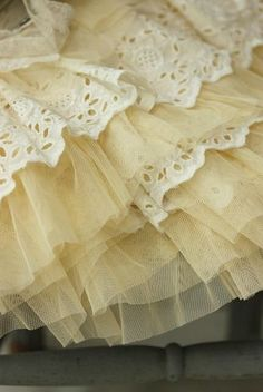 Frilly Tulle Skirt with Lace .