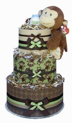 Baby Shower Gift & Centerpiece~Mod Monkey Blankets Diaper Cake