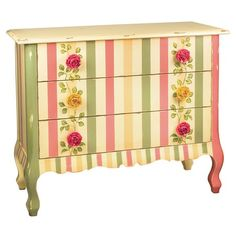 Fabulous Gorgeous Handpainted Rose Chest with Pink and Green Stripes #fabulous #gorgeous #handpainted #rose #chest #stripes #pink_and_green
