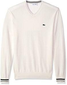 55ed1f9f541 Lacoste Men s Long Sleeve Semi Fancy Jersey V-Neck Sweater