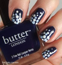 47 Amazing #Retro #Nails #Design = #Love this #Blue #Polka #Dot #Design