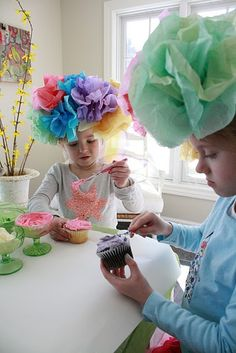 tissue paper flower hat tea party