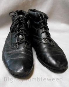 Womans #EasySpirit black flat ankle boots shoes 6.5 sz booties classic Leather #etsy