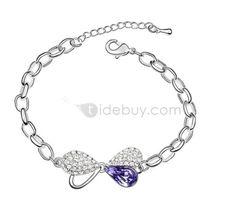 Noble Bowknot Alloy Lady's Bracelet with Purple Sworvski Crystal