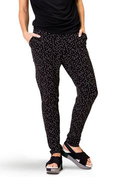 Ultra-comfy pants with an incredibly comfortable fit. Slightly slouchy crotch, and side pockets. Somewhat wider at the top, with slimmer fit at the bottom. The wide elasticated waist also provides discreet hold-in! Harem Pants, Trousers, Comfy Pants, My Outfit, Thats Not My, Polka Dots, Pockets, Skirts, How To Wear