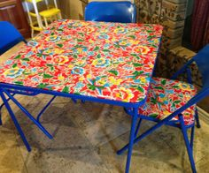 We received this card table 30 years ago as a wedding gift. It has served us well, but needed a face lift!! I did this project in a day and a half. The hardest part was deciding on the vinyl to cover the table and chair pads. I ended up ordering 2 yards oilcloth online for $6.25 a yard from fashionfabricsclub.com, but you could easily use a vinyl table clothe from Walmart/Target/TJMaxx or wherever and cut it to fit. I would recommend that you ...