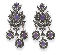 18TH CENTURY PAIR OF AMETHYST AND DIAMOND EARRINGS