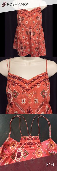 "ODILLE 100% Silk Coral Top Size 8 ODILLE 100% Silk spaghetti strap Coral Top Size 8. Side button. Armpit to armpit: 17.5"" Length from top strap: 27"" Odille Tops"